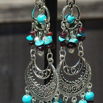 Turquoise and Red Garnet Boho Bohemian Chandelier Earrings ~ One of a Kind