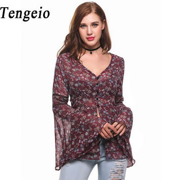 Tengeio Floral Print Chiffon Blouse Shirt Women Elegant Long Butterfly Sleeve Top Button Casual Sexy V-Neck Blouse Feminina AB25