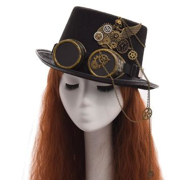 Gothic Unisex Skull Wings Glasses Top Hat Vintage Steampunk Gear Party Black Hat
