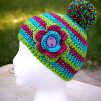 Girls hat with pom poms childs striped beanie purple teal lime green cap with flower accent Ready-to-ship