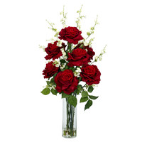 Roses w/Cherry Blossoms Silk Flower Arrangement