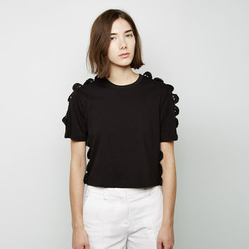 Crochet Trimmed Cropped Tee  by Simone Rocha