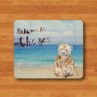 Take Bear To The Sea Drawing Watercolor Mouse Pad Brush Painting MousePad Desk Deco Work Pad Mat Rectangle Personalized Boss Gift Christmas