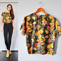 90's FLORAL SILK blouse by BombyxMoriVintage on Etsy