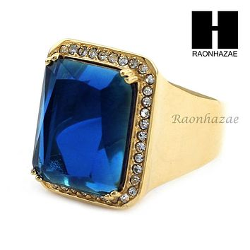 MEN RING 316L STAINLESS STEEL GOLD SAPPHIRE CZ RING SIZE 8-12 SR015BL