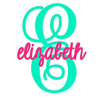 Monogram decal name and letter decal car decal monogram cup vinyl decal