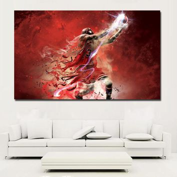Hotselling Abstract Portrait Oil Painting Michael Jordan Printed on Canvas Wall Art Picture for Living Room Poster Cudros Decor