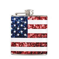 USA flag red and blue sparkles glitters look flask by PLdesign
