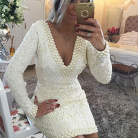 Ivory Lace Womens Dresses Cocktail Party Gowns Long Sleeves Sexy V neck vestidos Mini Formal Gowns Robe de Cocktail Dress Pearls