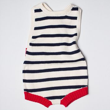 Estella Striped Organic Cotton Sleeveless Baby Romper 0–3M