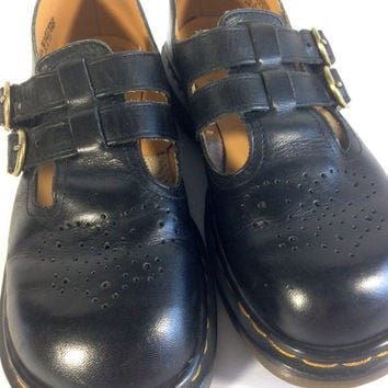 Vintage Dr. Martens Black Leather Mary Jane Double Strap Brass Buckles 90s Soft Grunge UK 6 US 8 Women Made in England 90s Punk Rock