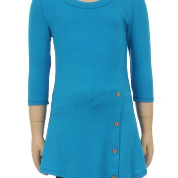 Girls Teal Tunic Dress Asymmetric Hem Button Details: S/M/L/XL