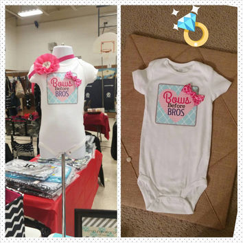 Bows Before Bros Baby Onesuit - Baby Girl - Shower Gift - photos