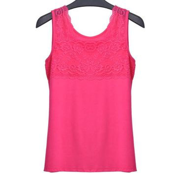 Summer Women Slim Tank Tops Lady O-Neck Bodycon Large Elastic Sleeveless T Shirts Female Camisoles Tanks Patchwork Lace