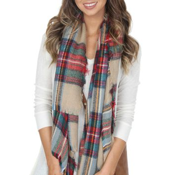 Woven Plaid Scarf Red