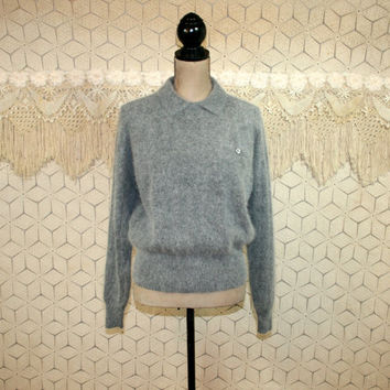 80s Gray Sweater Vintage Womens Sweaters Wool Angora Pullover Oversized Grunge Sweater 80s Clothing Liz Claiborne Medium Womens Clothing