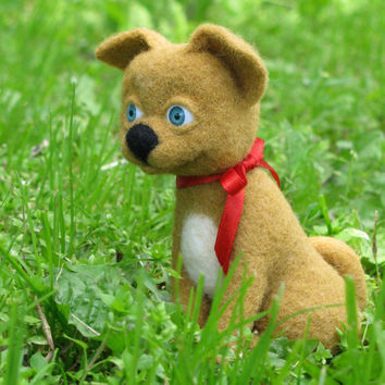 Felt toy - Needle felted dog -needle felted puppy - Felted toy - Art doll - Dog toy - Dog doll - Puppy doll  - puppy toy - OOAK