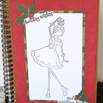 Colorable Christmas notebook Girl diary Decorated spiral bound journal DIY Craft Teacher Christmas gift holiday wishes and mistletoe kisses