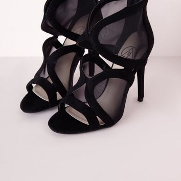 Missguided - Mesh Cut Out Heeled Sandals Black