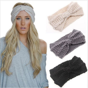 Ear Warmer Crochet Bowknot Turban Knitted Head Wrap
