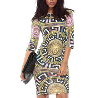New 2016 Poloyester Summer O-Neck Sexy Club Party Dress Medusa Maze Chain Print Bodycon Dresses For Women D5009