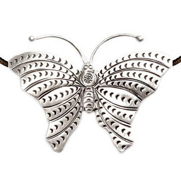Handmade Sterling Silver Large Butterfly Pendant Necklace 469689beb043