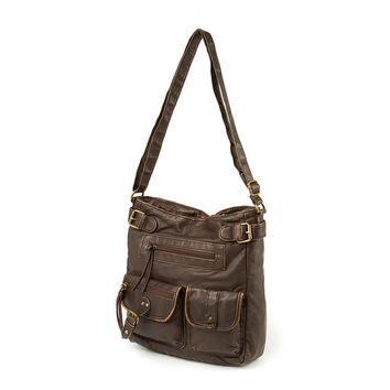 Dark Brown Faux Leather Crossbody Bag with Front Studded Pockets