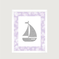 Nautical Silver Sailboat Lavender Print Nursery Decor Baby Print CUSTOMIZE YOUR COLORS 8x10 Prints Nursery Decor Art Baby Room Decor Kids