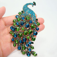 Art Nouveau Peacock Brooch Vintage Emerald Green Crystal Rhinestone Jewelry Animals