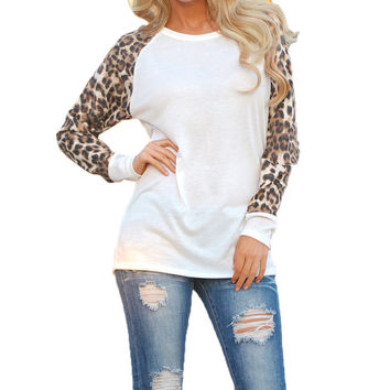 Leopard Print Long Sleeve Spliced Chiffon Blouse