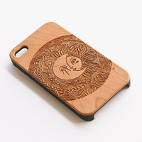 Wood Iphone 4 4S Case - Madame Sunnymoon Engraved Cherry Wood Iphone 4/4S Case, Wood Iphone 4 Case, Wood Iphone 4 case,