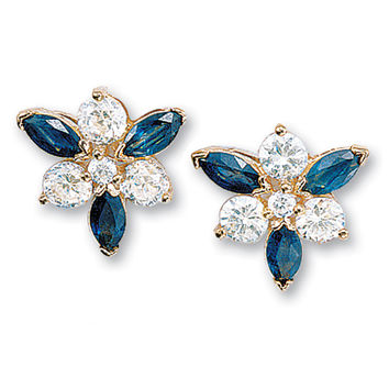 Genuine Sapphire Marquise Cluster Earrings