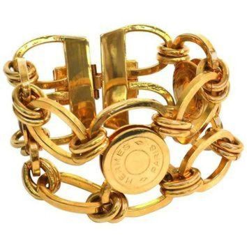 PEAPON Hermes Gold Sellier 'HERMES PARIS' Medallion Coin Chain Link Cuff Charm Bracelet Tagre-
