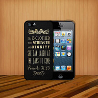 Christian Scriptural Bible Verse Proverbs 31:25 For case iPhone 4 4S iPhone 5 5S 5C and Samsung Galaxy S3 S4 Case