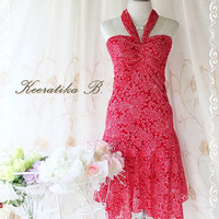 Princess Jasmine II - Gorgeous Party Cocktail Wedding Bridesmaid Night Lace Dress Bright Burgundy Halter Style Jasmine Collection
