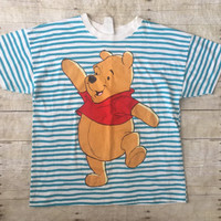 Vintage Winnie the Pooh Tshirt Tee Women Clothing Stripes Teal