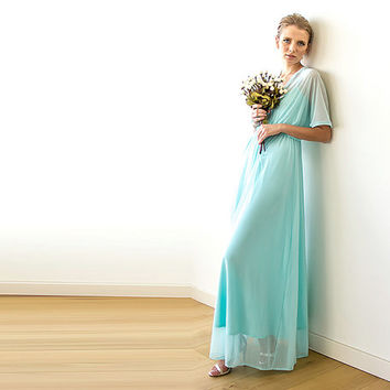Mint maxi sheer chiffon dress with bat wings sleeves