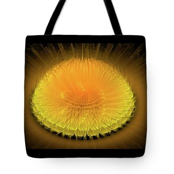 Yellow And Orange Glowing Fractal Flower Tote Bag