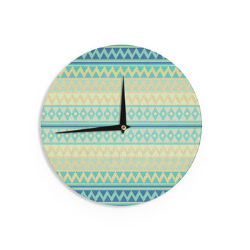 "Nika Martinez ""Glitter Chevron in Teal"" Blue Pattern Wall Clock"