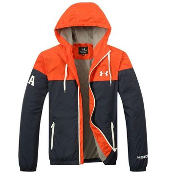 ONETOW UNDER ARMOUR Fashion Splicing Hooded Zipper Cardigan Sweatshirt Jacket Coat Windbreaker Sportswear