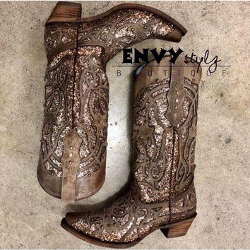 Corral Orix Glittered Inlay and Studs Snip Toe Boot