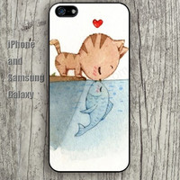 Cat kiss fish iphone 6 6 plus iPhone 5 5S 5C case Samsung S3,S4,S5 case Ipod Silicone plastic Phone cover Waterproof