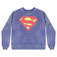 DC Comics Superman Distressed Logo Women's Blue Sweatshirt