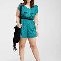 Abstract Print Ruffled Romper