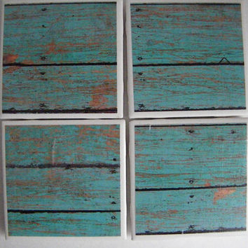 Rustic Nautical Wood Look  4, 6 or 8 Coasters Set  GREAT GIFT IDEA!  Lake House, Cabin, Man Cave, Bar Ware, Housewares
