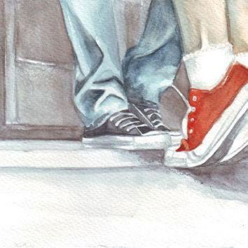 ICIKGQ8 original watercolor painting two lovers man boy woman girl kissing in converse all sta