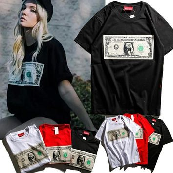 Supreme Fashion Women Men Print Dollars Pattern Shirt Top Tee