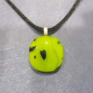 Bright Lime Green Penant, Black Accents, Fused Glass Jewelry, Neon - Zoey - 5