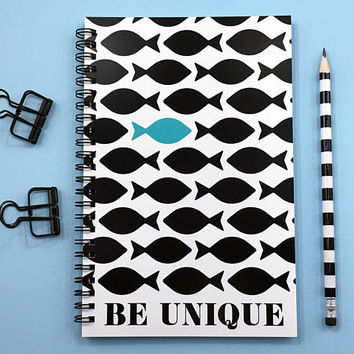Writing journal, spiral notebook, bullet journal, cute sketchbook, black white blue journal, fish, blank lined or grid - Be Unique