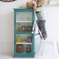 Portobello Glass Cabinet With Distressed Finish